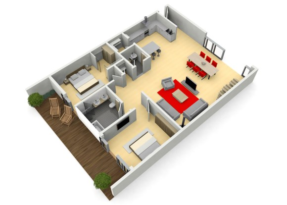 CGI image of furnished apartment