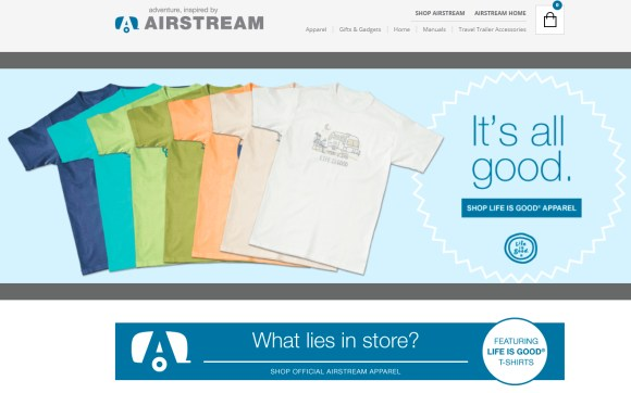 screenshot of tshirts on Airstream website