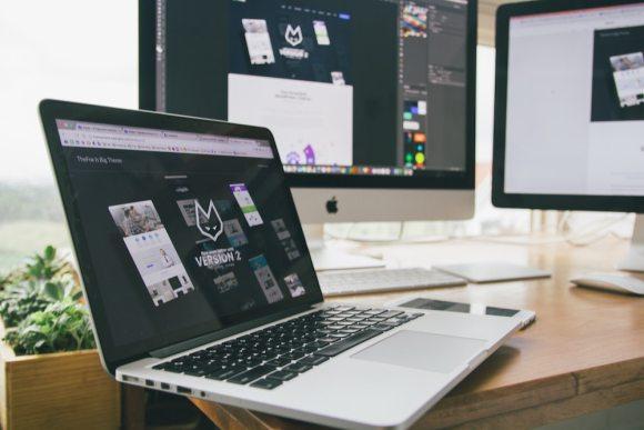 website under development on laptop