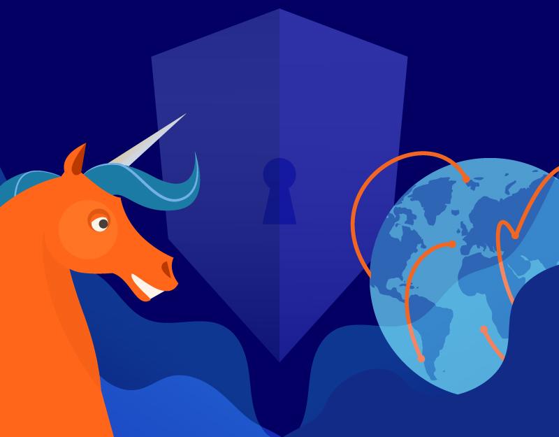 Graphic with Unicorn, servers and globe