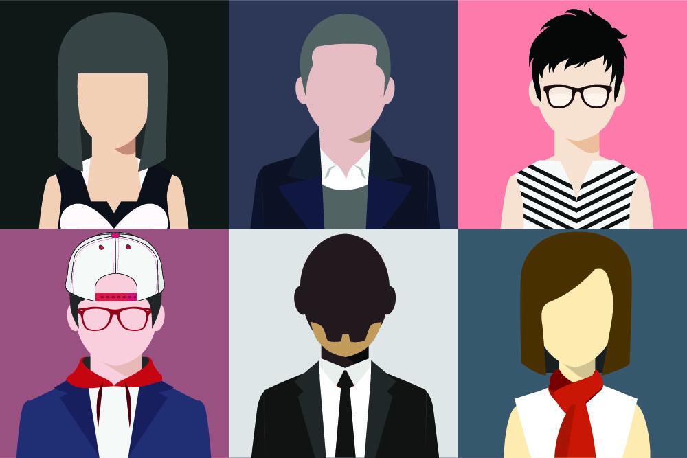 graphic depicting different avatar personas