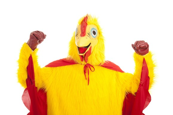 photo of person in chicken suit