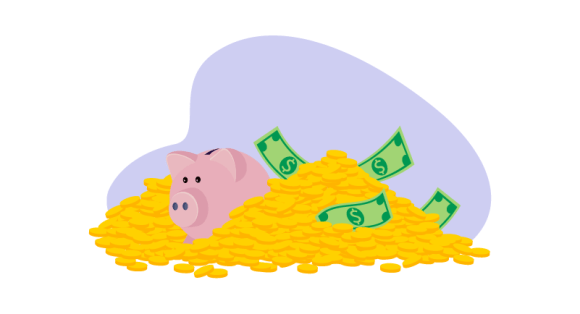 piggy bank in pile of cash