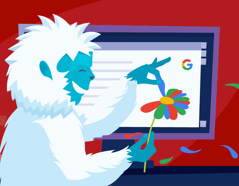 Yeti in front of a diagram showing Google results