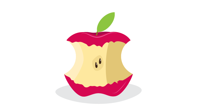 Apple with several bites taken out of it