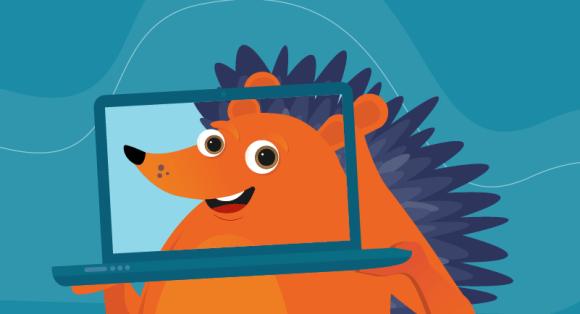 Hedgehog on his laptop