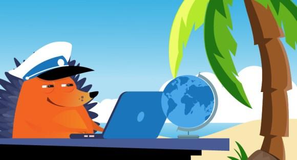 Captain hedgehog at his laptop