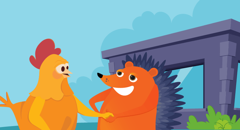 hedgehog and chicken making a personal connection