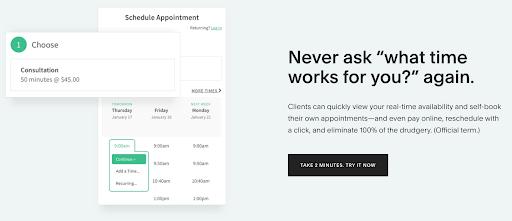 screenshot of acuityscheduling.com