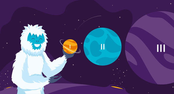 Yeti with different planets representing hosting tiers