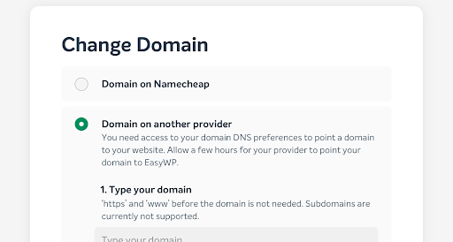 screenshot for changing domain in EasyWP