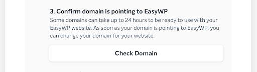 Confirm domain is pointing to EasyWP