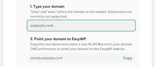 Screenshot of typing your domain in EasyWP