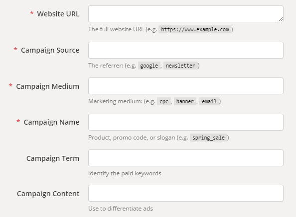 Screenshot of Google Analytics URL Builder tool