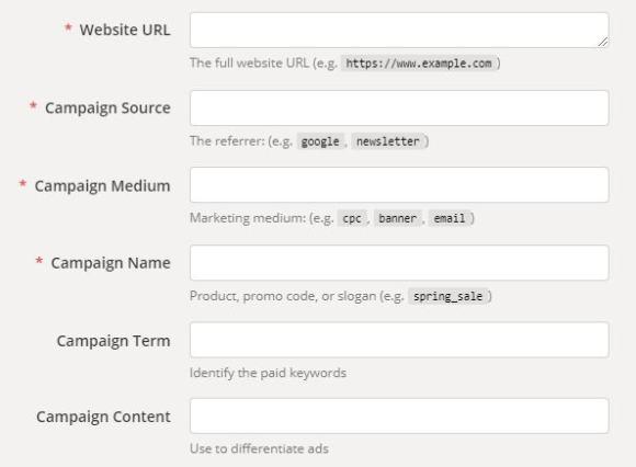 Screenshot of Google Analytics URL Builder tool