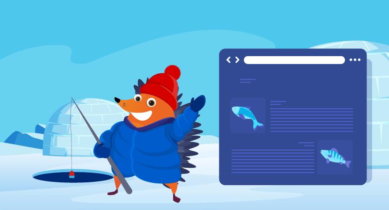hedgehog showing off fishing blog