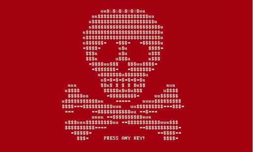 screenshot of skull & crossbones ransomware
