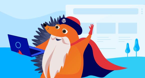 Gutenberg hedgehog working on his website