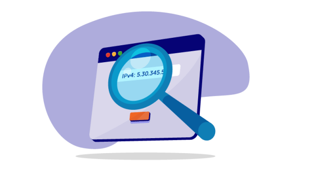 magnifying glass on IP address