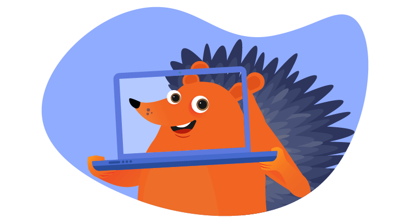 hedgehog behind transparent laptop