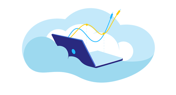 laptop floating in the clouds