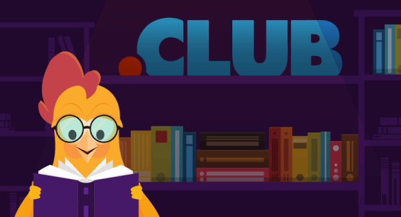 Chicken with books to promote.club domain