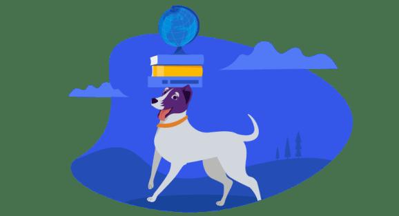 dog balancing books and globe on its head