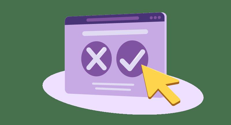 arrow pointing to checkmark vs x