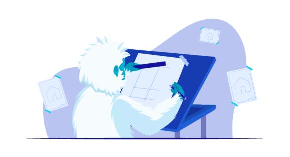 yeti designing his website