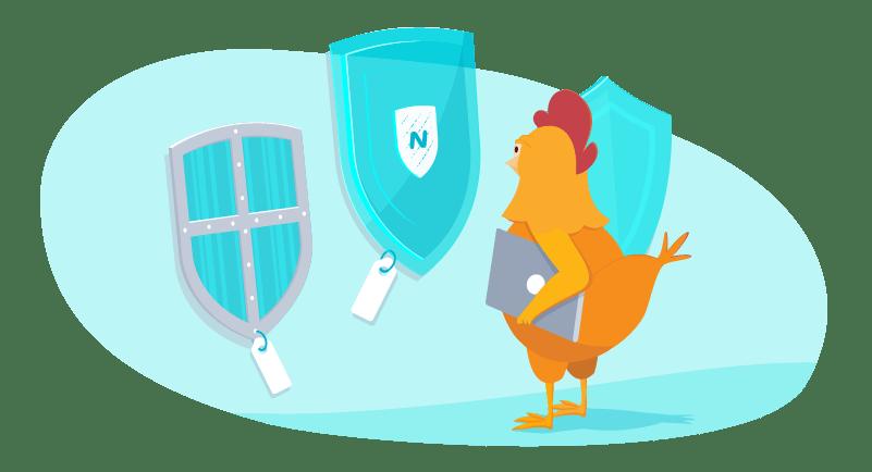 Chicken choosing between VPN services represented as shields