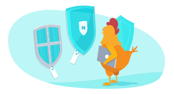 Chicken choosing between VPN services represented as shields