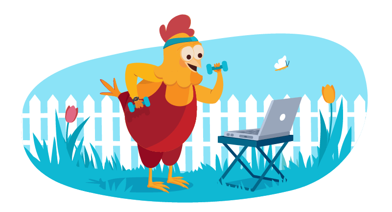 Chicken working form home on laptop outside with exercise gear