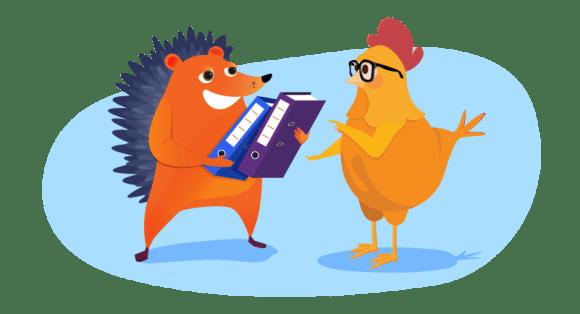 Hedgehog handing over business information to chicken