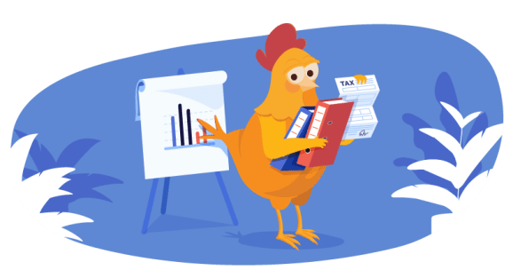 chicken working on taxes and other tasks