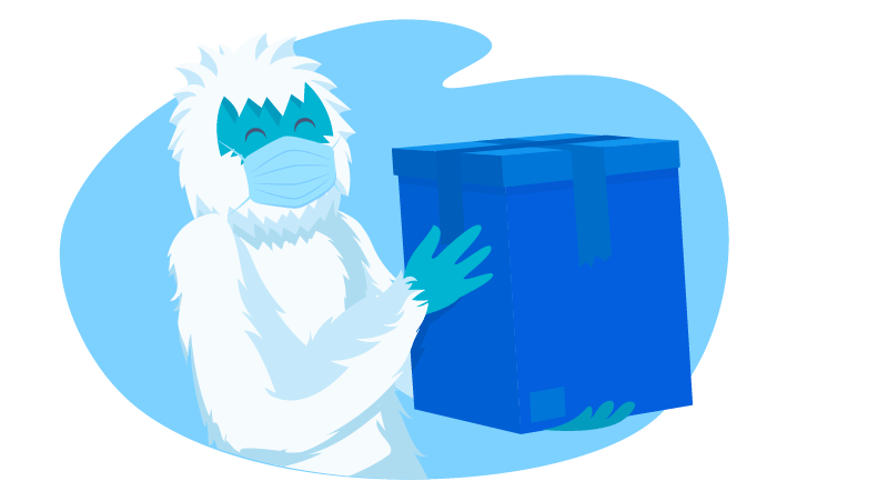 Yeti wearing mask holding a box for shipping