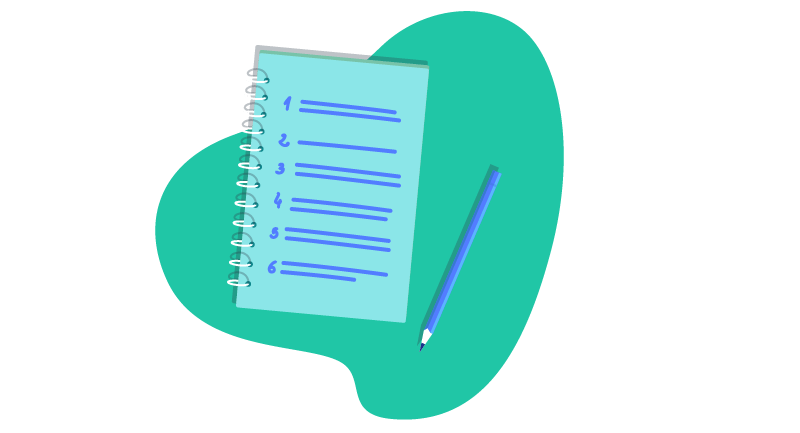 Notebook with a list