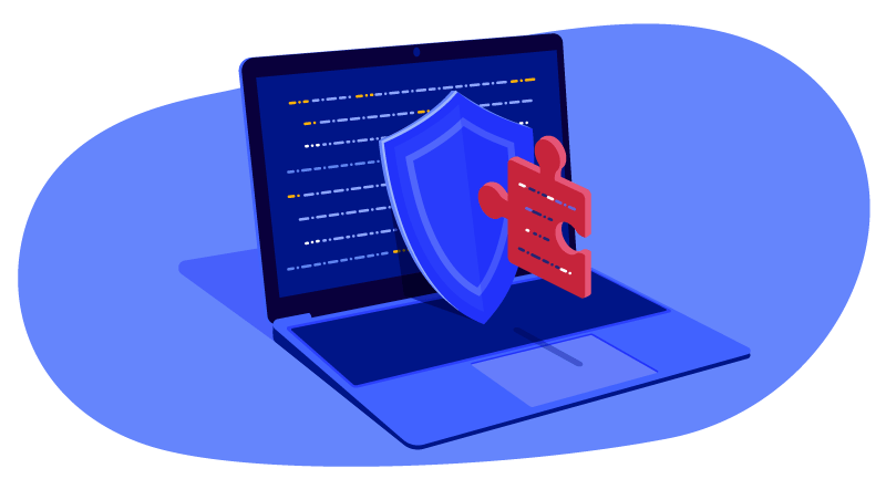 a shield with a puzzle piece on a laptop