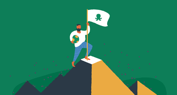 man planting EasyWP flag at top of mountain