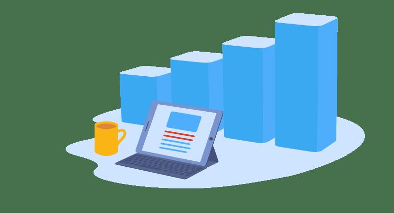 blog with analytics chart