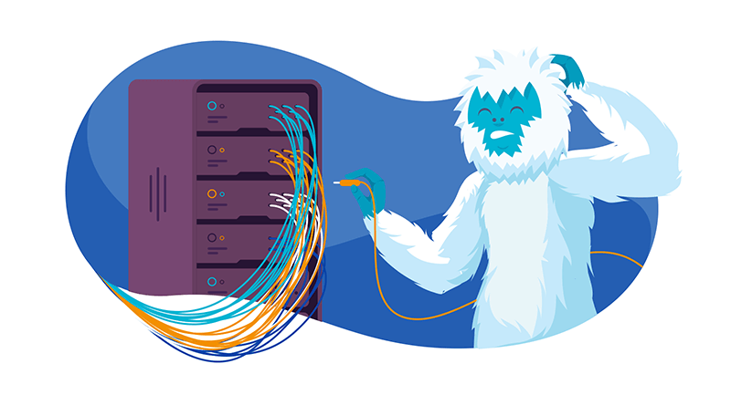 a yeti working on a server considering upgrading his hosting