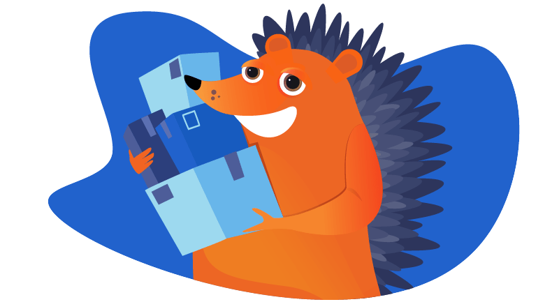 hedgehog with a stack of packages to ship
