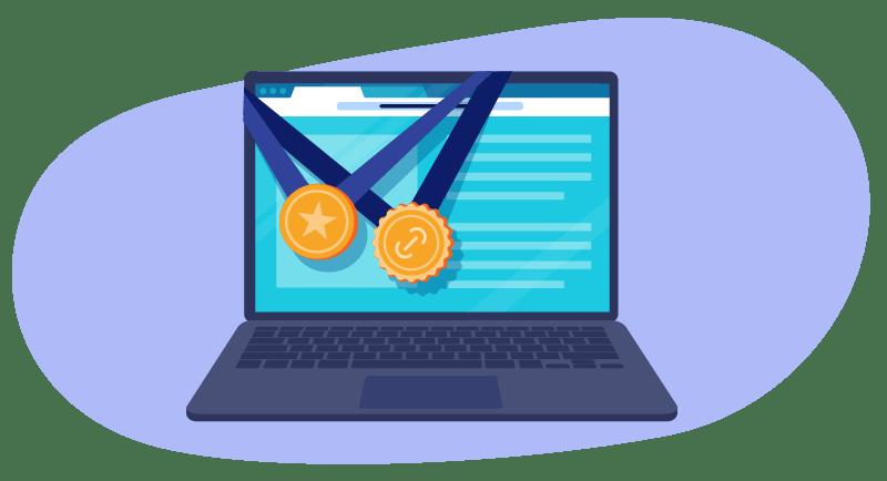 awards on laptop