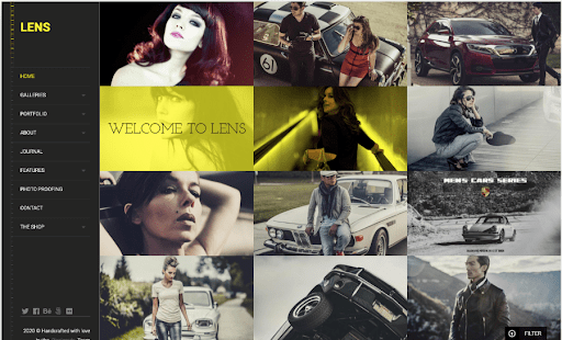 An example of the Lens photography theme for WordPress featuring a grid of 12 images