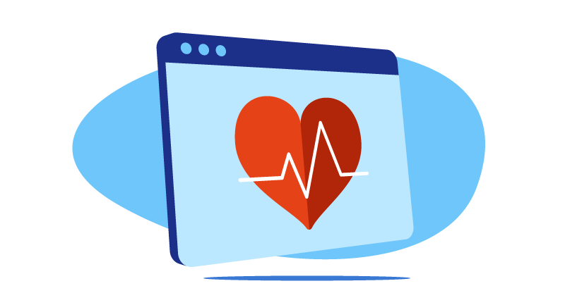 heart rhythm on computer screen