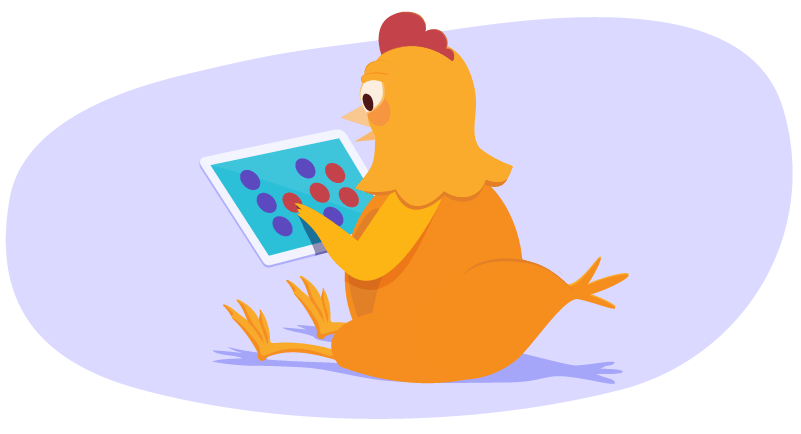 Chicken playing game on iPad