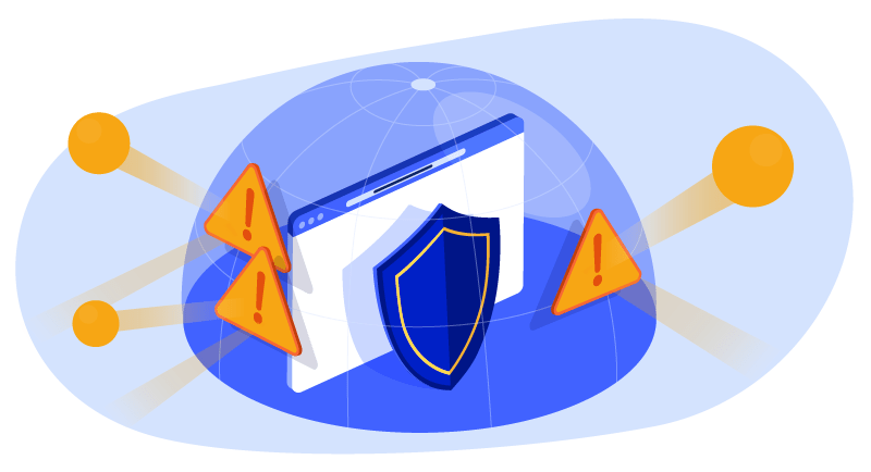 Shield on laptop with multiple alerts