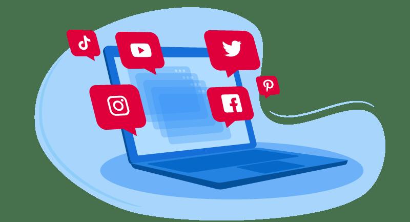 Laptop with social media bubbles