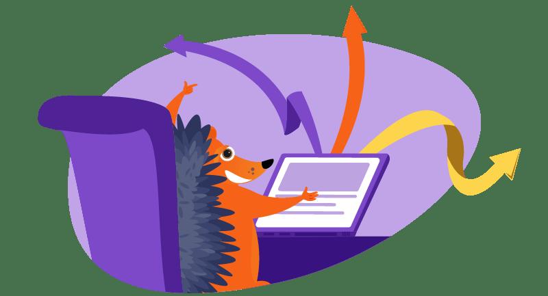 hedgehog working on website