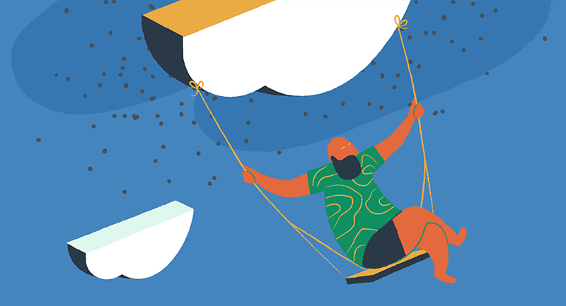 man swinging on a swing attached to the cloud