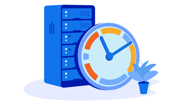 server, clock, and plant